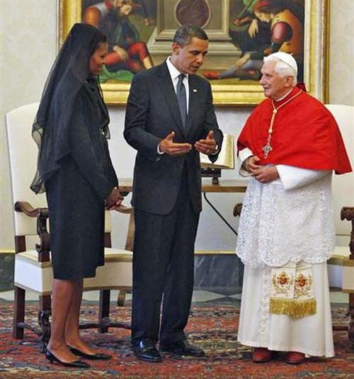 Paus Benedictus XVI ontvangt president Obama