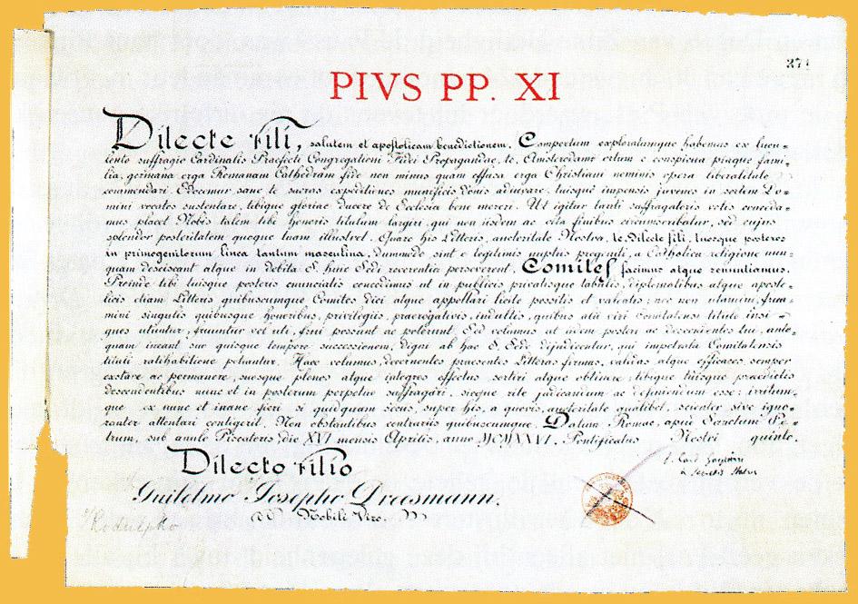 Breve waarbij W.J.R. Dreesmann werd benoemd tot pauselijk graaf