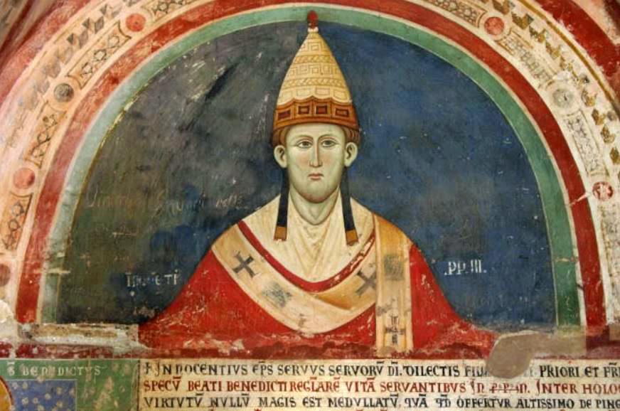 Paus innocentius III met een vroege vorm van het pallium