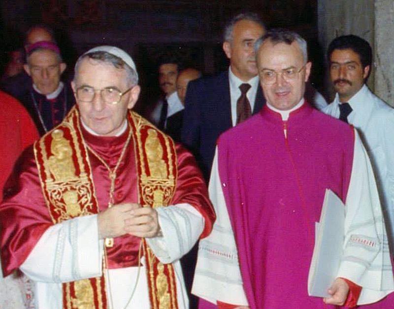 Paus Johannes Paulus I en zijn ceremoniemeester Virgilio Noè