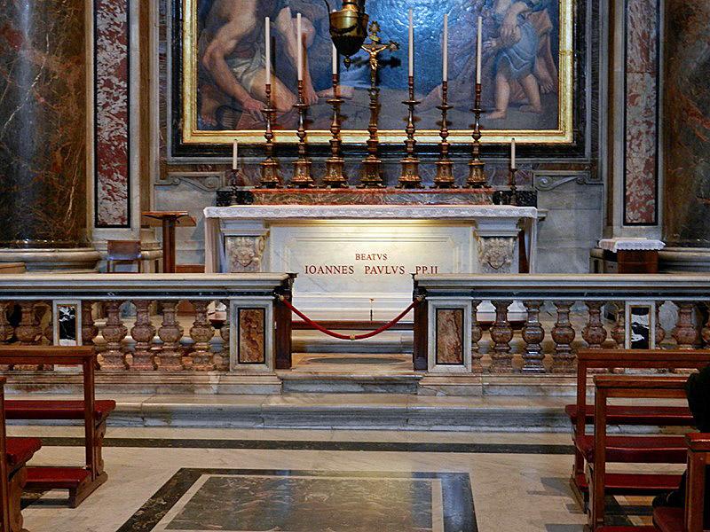 De graftombe van paus Johannes Paulus II in de Sint-Pietersbasiliek
