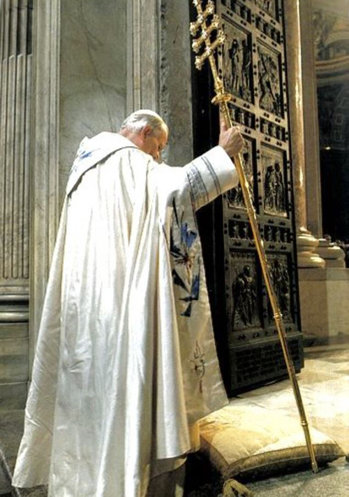 Paus Johannes Paulus II bij de opening van het Heilig Jaar 1983