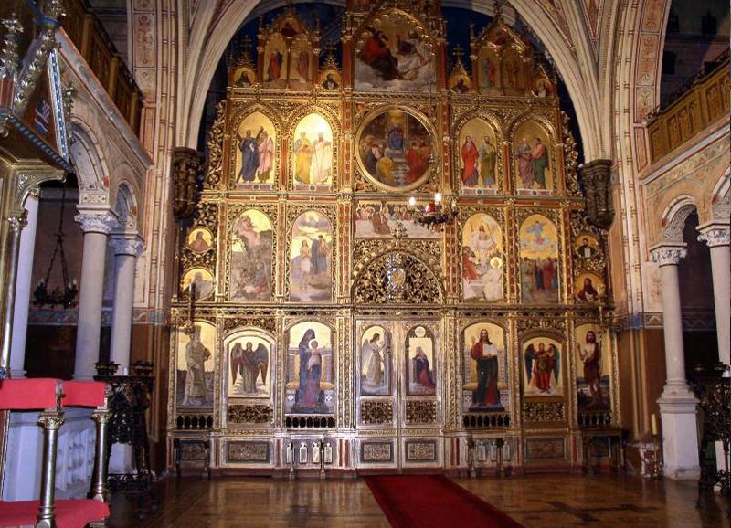 De iconostase van de kathedraal in Križevci