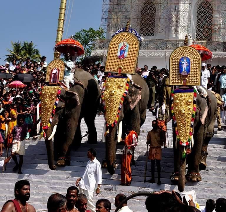 Een Syro-Malabaarse processie met olifanten