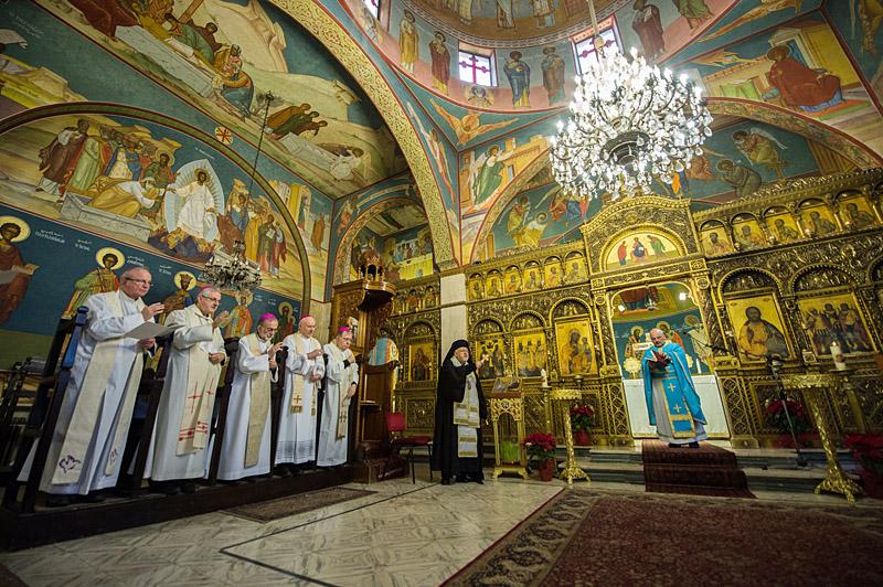 Liturgieviering in de Melkitische kathedraal in Jeruzalem