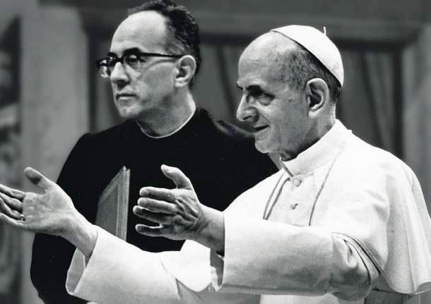 Paus Paulus VI en zijn secretaris Pasquale Macchi