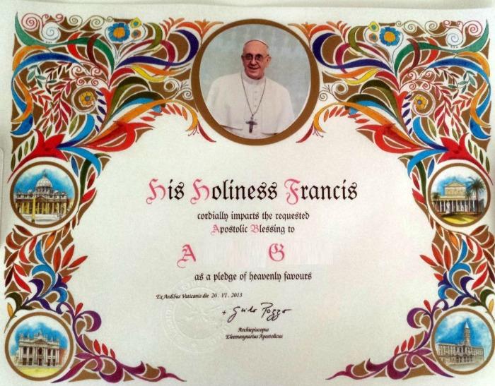 Pauselijke zegen van paus Franciscus