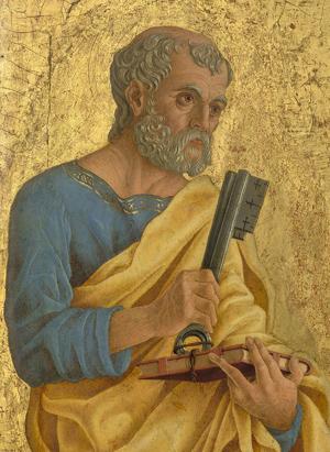 De heilige apostel Petrus op schildering van rond 1468